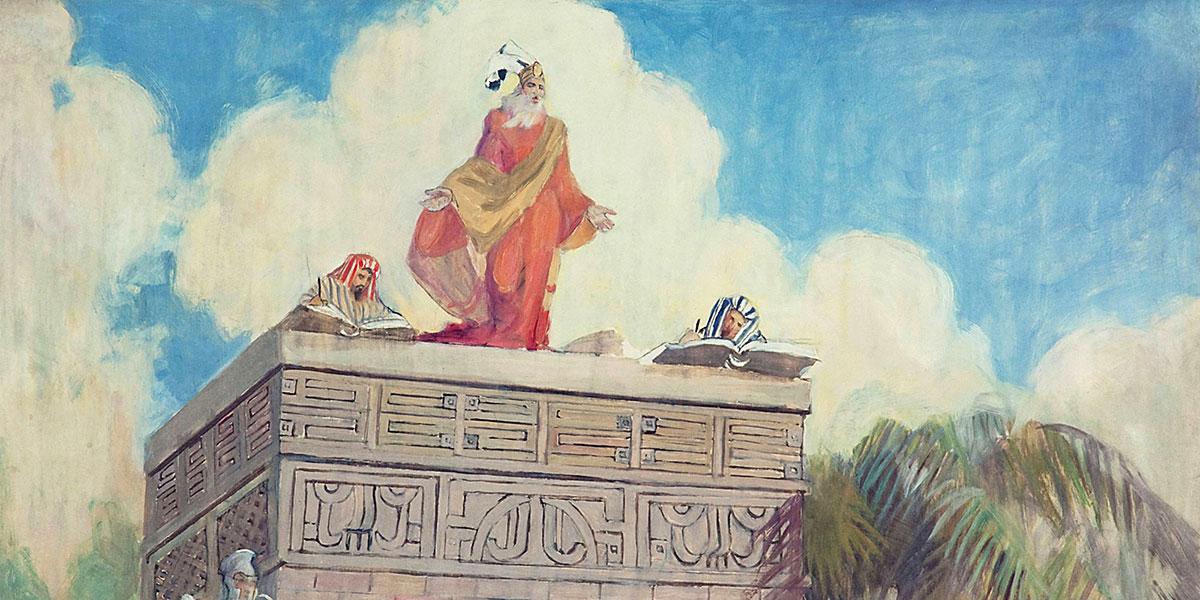 Minerva K. Teichert (1888–1976), King Benjamin's Farewell Address, 1935, oil on masonite, 36 x 48 inches. Brigham Young University Museum of Art.. Image via ChurchofJesusChrist.org