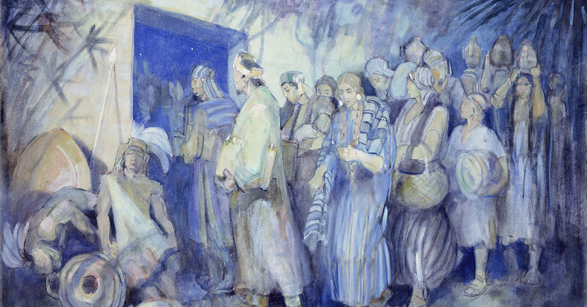 Minerva K. Teichert (1888-1976), Escape of King Limhi and His People, 1949-1951, oil on masonite, 35 7/8 x 48 inches. Brigham Young University Museum of Art, 1969. Image via ChurchofJesusChrist.org