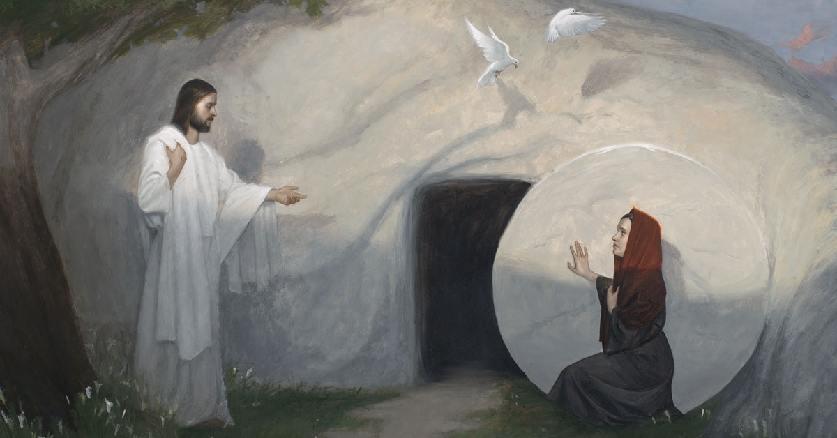 Woman, Why Weepest Thou? by Mark R. Pugh. Image via ChurchofJesusChrist.org