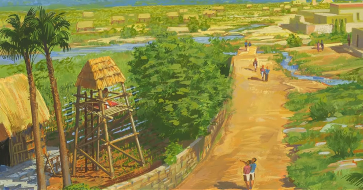 Illustration of Nephi in a garden tower by Jerry Thompson. Image via Church of Jesus Christ.