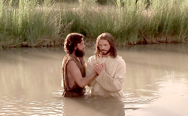 John the Baptist Baptizing Jesus in the Jordan River. Image via LDS Media Library.