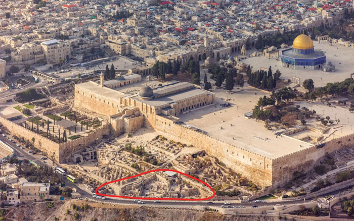 The Ophel excavations at the foot of the southern wall of the Temple Mount in Jerusalem. Image via Times of Israel