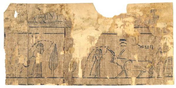 An illustration from the Book of the Dead among the fragments from the Joseph Smith Papyri.