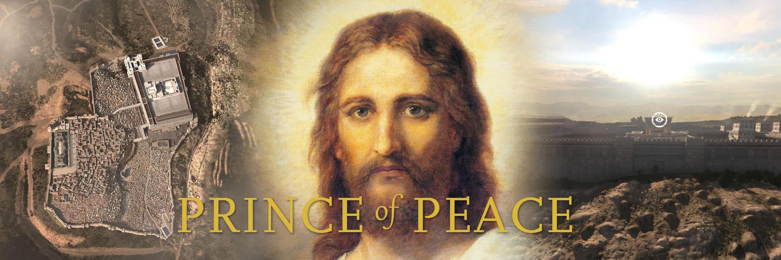 Prince of Peace banner featuring BYU's Virtual New Testament App