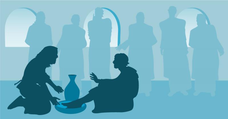 Jesus Washing Simon Peter's feet at the Last Supper. Image via Adobe Stock.