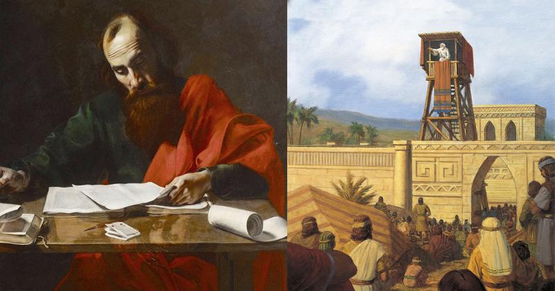 Saint Paul Writing His Epistles by Valentin de Boulogne via Wikimedia Commons. King Benjamin Addresses His People by Gary L. Kapp via Gospel Media Library.