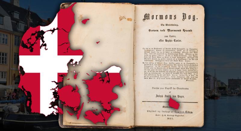 Image of Danish flag and Book of Mormon via Book of Mormon Central