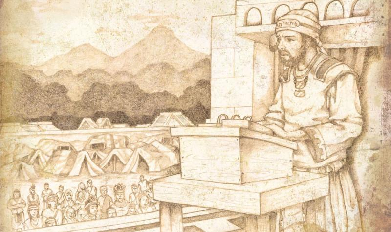 Jacob as the High Priest preaches to the Nephites. Drawing by Jody Livingston.