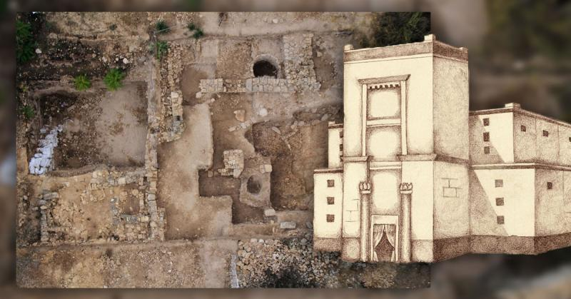 Aerial view of Tel Motza and drawing of Nephi's Temple by Jody Livingston.