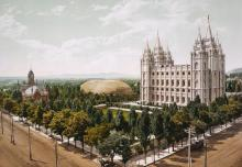 Temple Square, Salt Lake City, Utah, in 1899. Photograph by William Henry Jackson. Image via Wikimedia Commons.