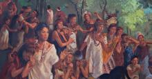 Detail of Courageous Daughters in Mosiah 18 by James Fullmer.