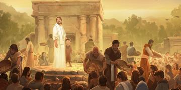 Illustration of Christ appearing to the Nephites by Andrew Bosley. Image via ChurchofJesusChrist.org