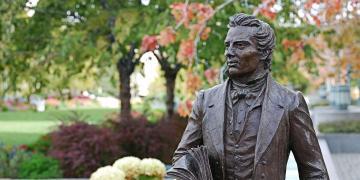 Image of Joseph Smith statue in Salt Lake City. Image via Church of Jesus Christ.