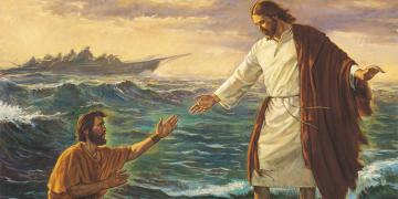 Christ Walking on the Water by Robert T. Barrett. Image via lds.org
