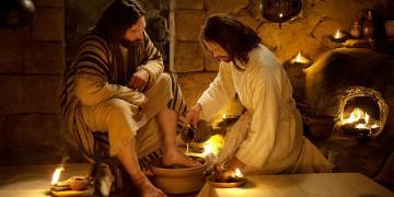 Jesus washing Peter's feet. Image via Gospel Media Library.