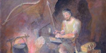 Minerva K. Teichert (1888–1976), Moroni: The Last Nephite, 1949–1951, oil on masonite, 34¾ x 47 inches. Brigham Young University Museum of Art, 1969. Image via Church of Jesus Christ.