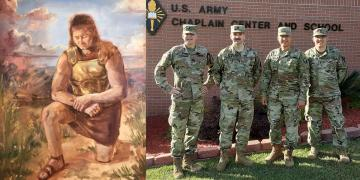 Left: A Warrior's Prayer by Hannah Loflin. Submitted to the 2020 Book of Mormon Central Art Contest. Right: U.S. Army chaplains Rick Gabbitas, Erik Ramsay, Noé Correa, and Tyson Yapias.