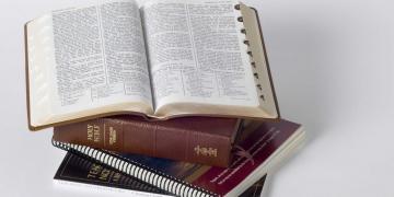 Copies of the scriptures. Photo via Gospel Media Library.